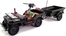 New In Box Cararama 1/43 Diecast 1/4 Ton Jeep Military Vehicle with Trailer
