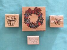 Holiday Wood Mounted Rubber Stamps LOT of 4 Wreath Holly Present Thanksgiving