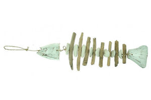 decorative nautical hanging fish driftwood mobile 50 cm x 18 cm white / blue