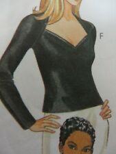 Vtg 90s McCall's 2254 V-NECK SEXY TOP SHIRT Sewing Pattern Women UNCUT Sz 16-18