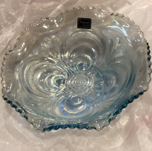 Imperial Lenox Hand Crafted Carnival Bowl Blue Iridescent NEW with tags