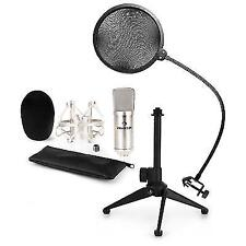 Auna Microphone Condenser Mic Stand Pop Protection Studio Home Recording Silver