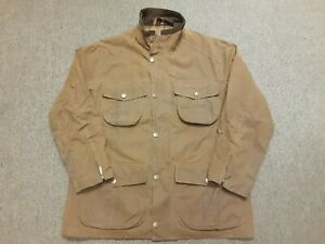 Mens Barbour Utility Oiled Waxed Cotton Coat Jacket Brown Large L damaged as is