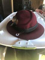 Vintage Geo W Bollman Doeskin 100% Felt Wool Ladies Fedora Hat Bow Feather
