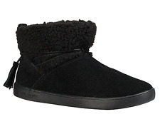 Koolaburra Ugg Black Suede Isana Faux Fur Tie Ankle Boots NEW
