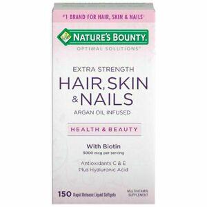 Nature's Bounty Hair Skin Nails Extra Strength 150 Softgels w/ Biotin Vit. C & E