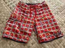 """QUIKSILVER RED ABSTRACT PLAID  BOARD SHORTS SWIM SURF SURFER SURFING TRUNKS 32"""""""