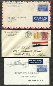 p229 - NEWFOUNDLAND Stamps on THREE Covers to USA. 1946-58