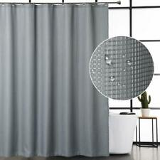 Gray Waffle Weave Elegant Farmhouse Water-Repellent Fabric Shower Curtain