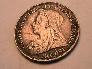 1894 Great Britain Victoria 1 Shilling Ch VF+ Original Old Toned Silver UK Coin
