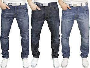 Smith & Jones Mens Branded Regular Fit Straight Leg Belted Jeans, BNWT