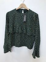 Boohoo BNWT Teal And Gold Spot Blouse Size 12