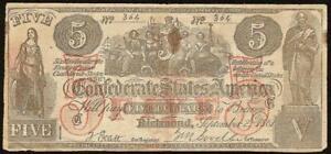 1861 $5 DOLLAR BILL COUNTERFEIT CONFEDERATE STATES CIVIL WAR ERA NOTE CT-31