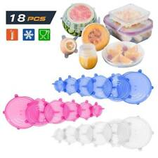 6pcs Silicone Stretch Bowl Wraps Food Saver Covers Seal Insta Lids Reusable ~