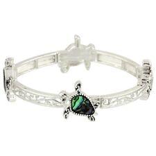 Sea Turtle Fashionable Stretchable Bracelet - Abalone Paua Shell - Silver Plated