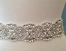 "Wedding Dress Sash Belt - Crystal Pearl Sash Belt = 18"" beaded applique part"