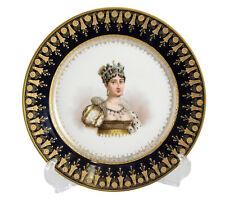 Sevres France Porcelain Hand Painted Portrait Plate Empress Josephine, c.1900
