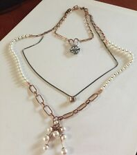 New 👌Triple Neck Choker Mimco X 3 Necklaces Rose Gold Pearl + Dust Bag