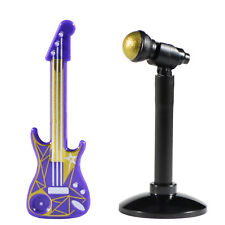 Lego Minifig Dark Purple/Gold Color Electric Guitar, Mic & Lego Stand *NEW*