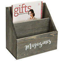 MyGift 2 Slot Vintage Gray Wood Wall Mounted or Tabletop Magazine Holder Rack