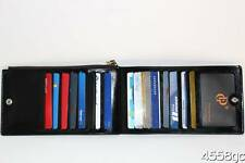 DESIGNER BLACK LEATHER CREDIT CARD BIFOLD WALLET - 16 SLOTS