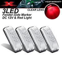 "4 X Clear Lens 3 LED 12V 3.9"" Truck Trailer Lorry Red Brake Tail Lights Camper"