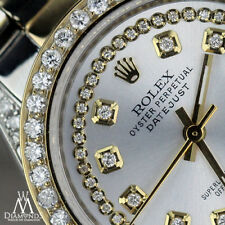 Women's 31mm Rolex Oyster Perpetual Datejust Custom Silver String Diamond Dial