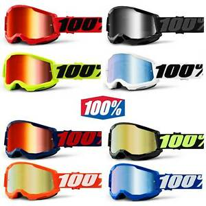 NEW 100% STRATA 2.0 Goggles Motocross MX MTB Goggles 100 Percent Mirrored Clear