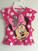 MINNIE MOUSE Disney Toddler Girls Blouse Top Shirt Polk Dot White Pink Size 5