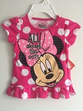 MINNIE MOUSE Disney Mickey Toddler Top Blouse Shirt Polk Dot White Pink Size 6