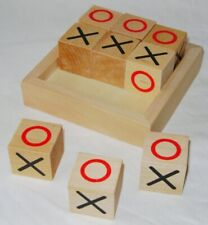 Retro Traditional Wooden Noughts & Crosses Tic Tac Toe Blocks Game Party Fun Toy