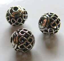 50pcs 8mm Round Metal Alloy Hollow Spacer Beads - Antique Silver