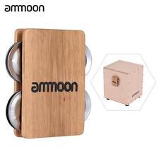 ammoon Cajon Box Drum Companion Accessory 4-bell Jingle Castanet for Hand J9E7