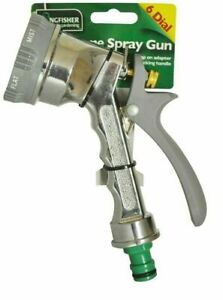6 DIAL METAL SPRAY GUN MULTI PATTERN GARDEN HOSE PIPE WATER SPRAYER MARKSMAN NEW