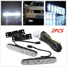 2pcs 6 LED Car DRL Daytime Running Light White +Amber Turn Signal Lamp Universal