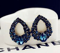 1 Pair New Fashion Women Lady Elegant Blue Crystal Rhinestone Ear Stud Earrings
