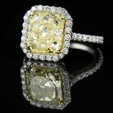 4.25Ct Yellow Radiant Cut Diamond Engagement Halo Ring In 14K White Gold