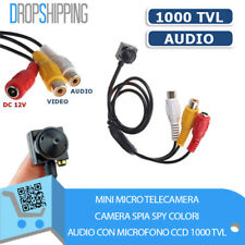 MINI MICRO TELECAMERA  CAMERA SPIA SPY COLORI AUDIO CON MICROFONO CCD 1000 TVL