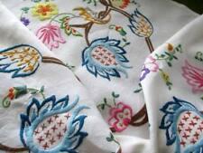 More details for vintage tablecloth hand embroidered jacobean design-linen