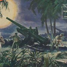 1945 WWII US Army Long Tom Artillery 155mm Shell WW2 battle art vintage print ad