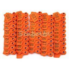 NEW! 1-100 Orange Number Plastic Livestock Ear Tag Animal Tag for Goat Sheep Pig