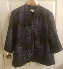 Coldwater Creek 24 Cape Womens Plus Size Jacket Blue Black 3/4 Sleeve (C104)