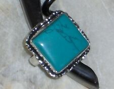 SQUARE TURQOISE STERLING SILVER PLATED RING SZE 6 ITS HIP TO BE SQUARE