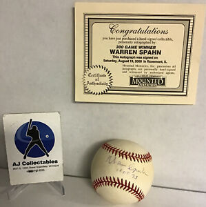 Warren Spahn Autographed/signed Baseball MM Coa Milwaukee Braves Hof JL/K2