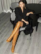 Zara Tan Leather High Heel Over The Knee  Tall Long Boots UK8/42 🛍