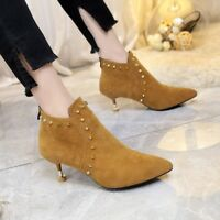 Women's Rlvet Suede Low Heel Ankle Short Boots Pointed Toe Stiletto Zipper Shoes