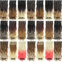 7pcs/set Clip In On Dip Dye Ombre Wavy Curly Full Head Synthetic Hair Extensions