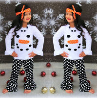 USA Toddler Kids Girls Christmas Snowman Olaf Tops Dot Pants Outfits Set Clothes