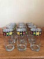 Anchor Hocking Debbie Mumm STAR/MOON Set (12) Beverage Glasses 16 oz. Red/Green
