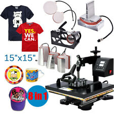 """8 in 1 15""""x15"""" Heat Press Machine For T-Shirts Combo Kit Sublimation Swing away"""